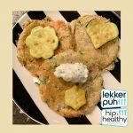Courgettepannenkoekjes met zalm en kruidencrème